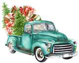 """Watercolor Turquoise Truck ""  - Ready to Press Heat Transfers"