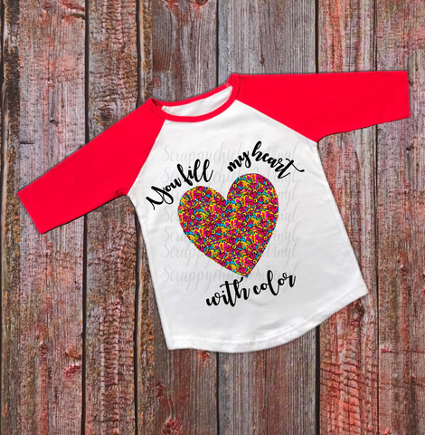 """You fill my Heart Color"" Valentines - Ready to Press Heat Transfer"