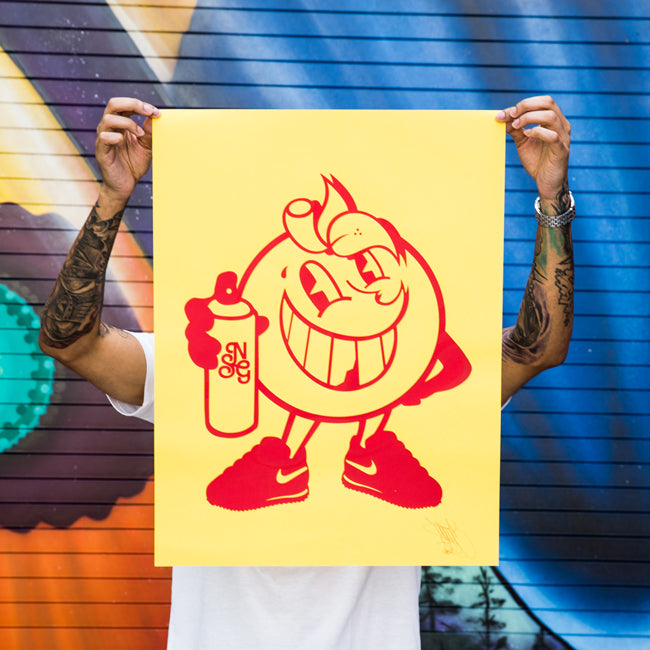 Atomiko Orange on Yellow Screen Print Signed & Numbered - Wynwood Shop