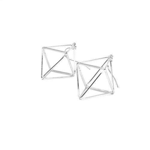 Geometric Silver Diamond Earrings (Small) - Wynwood Shop