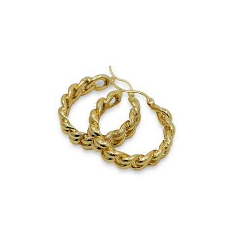 Chain Gold Hoops Earrings - Wynwood Shop