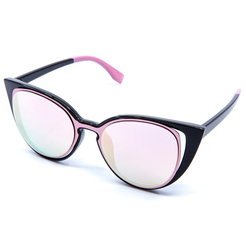 Fancy Cat-Eyed Mirrored Sunglasses - Wynwood Shop