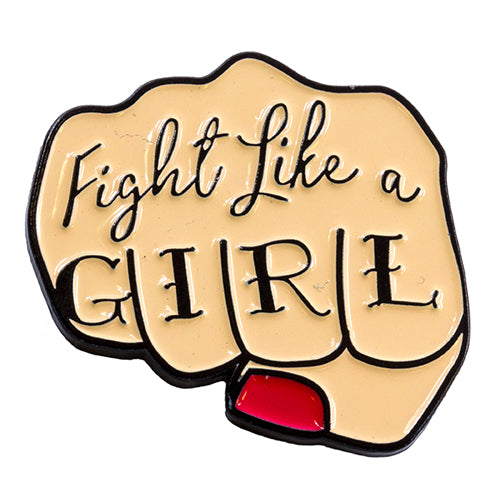 Fight Like A Girl Enamel Rubber Back Pin from the Wynwood Shop