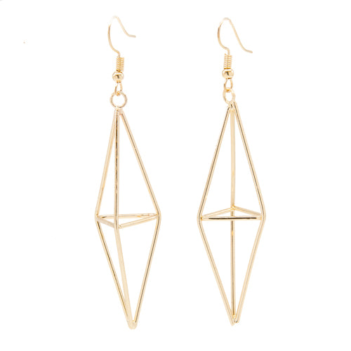 Long Gold Diamond Earrings - Wynwood Shop