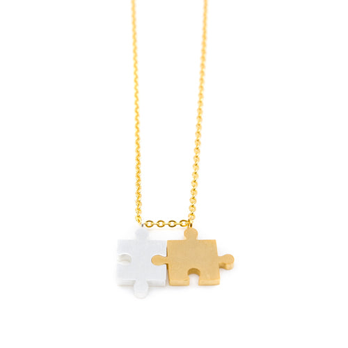 Puzzle Piece Gold Chain Necklace - Wynwood Shop