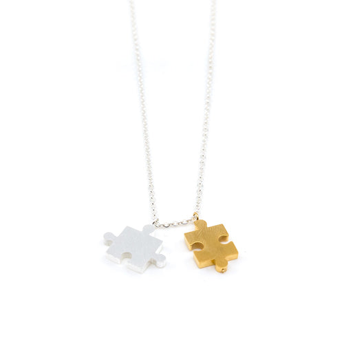 Geometry Puzzle Piece Silver Chain Necklace from the Wynwood Shop