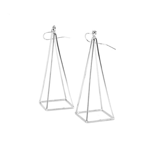 Geometry Silver Pyramid Earrings from Wynwood Shop