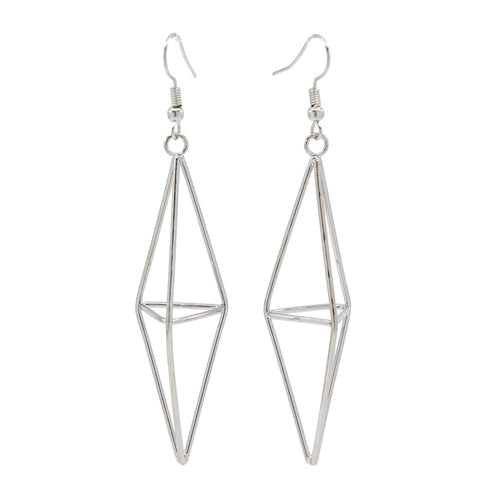 Long Silver Diamond Earrings - Wynwood Shop