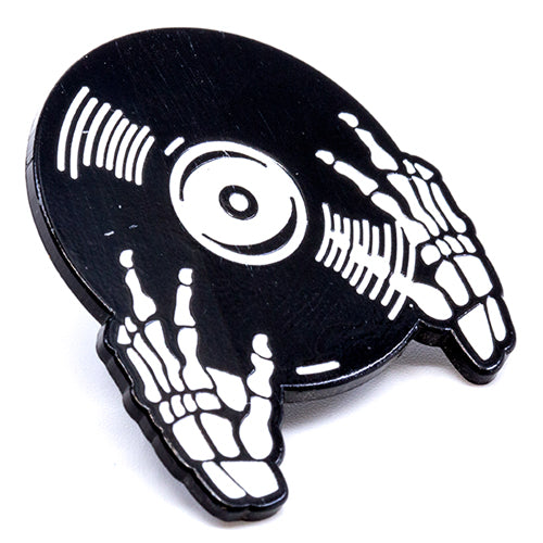 Skull Hands Spinning Records Enamel Rubber Back Pin from Wynwood Shop