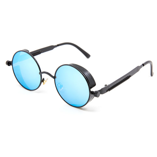 Atomic Steampunk Black On Blue Mirrored Sunglasses from Wynwood Shop