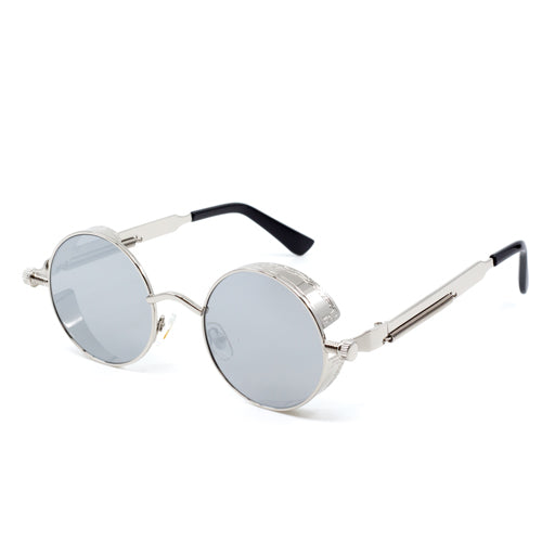Round Steampunk Mirrored Sunglasses - Wynwood Shop