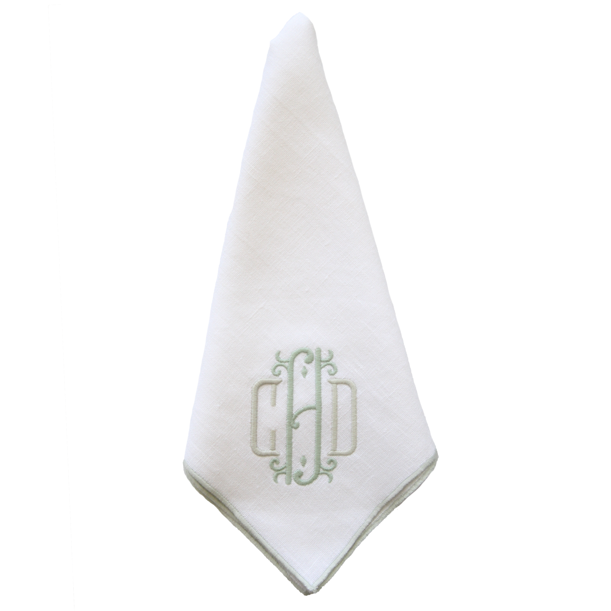 Duet Dinner Napkins . White & Sea Foam