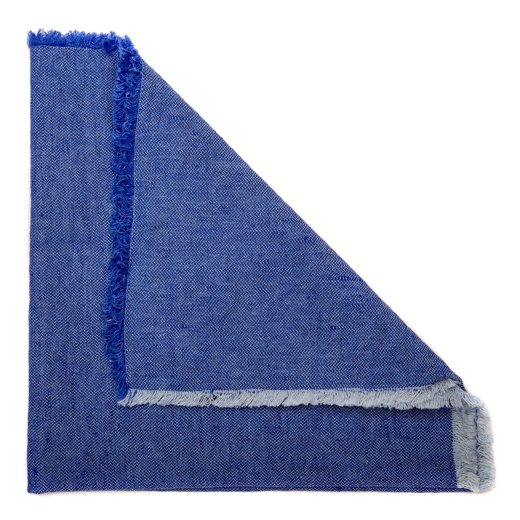 Washed Fringe Napkins - Oxford Blue