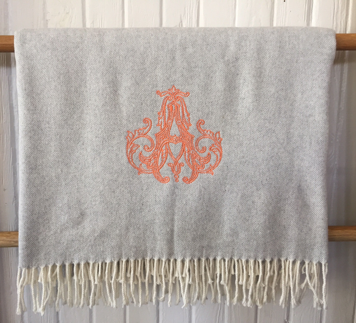 Italian Herringbone Throw - Light Grey