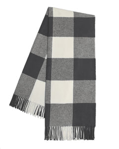 Italian Herringbone Buffalo Check Throw - Charcoal