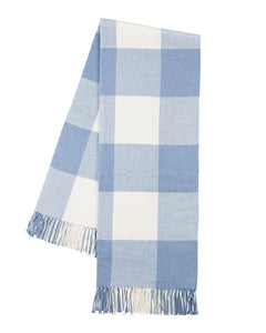 Italian Herringbone Buffalo Check Throw - Denim