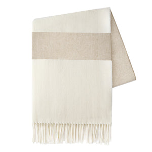 Italian Herringbone Stripe Throw - Dune