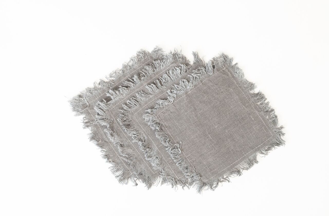 Set of Fringed Cocktail Napkins - Light Gray