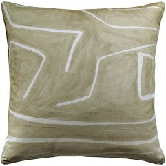 Graffito Pillow - Beige & Ivory