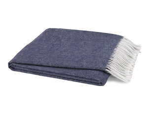 Italian Herringbone Throw - Indigo