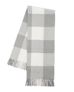 Italian Herringbone Buffalo Check Throw - Light Gray