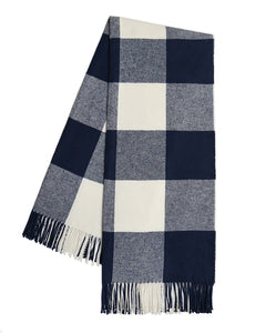 Italian Herringbone Buffalo Check Throw - Navy