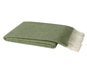 Italian Herringbone Throw - Olive