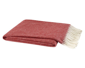 Italian Herringbone Throw - Red Poppy
