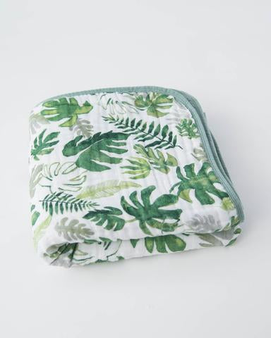 Muslin Quilt - Tropical Leaf
