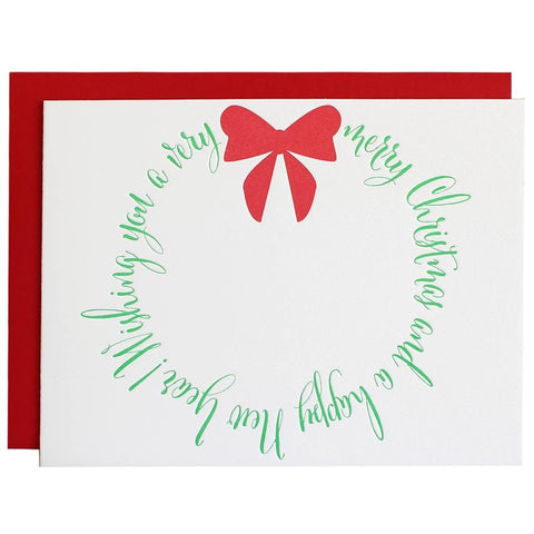 MERRY CHRISTMAS WREATH LETTERPRESS GREETING CARD
