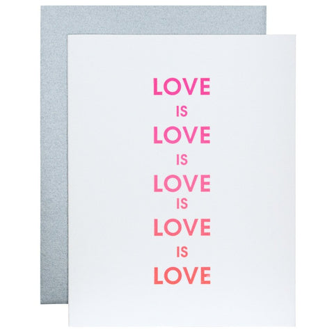LOVE IS LOVE LETTERPRESS GREETING CARD