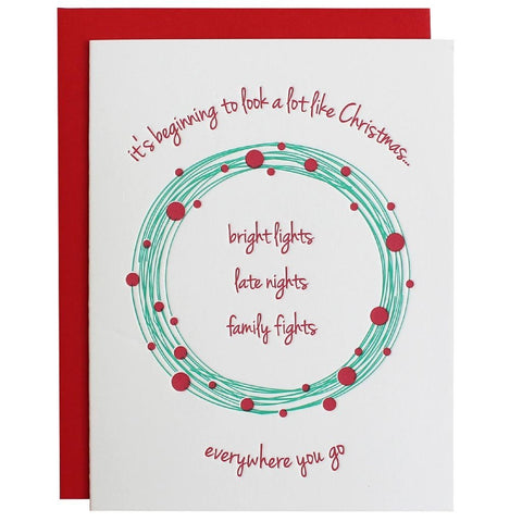 FAMILY FIGHTS BEGINNING TO LOOK A LOT LIKE CHRISTMAS LETTERPRESS GREETING CARD