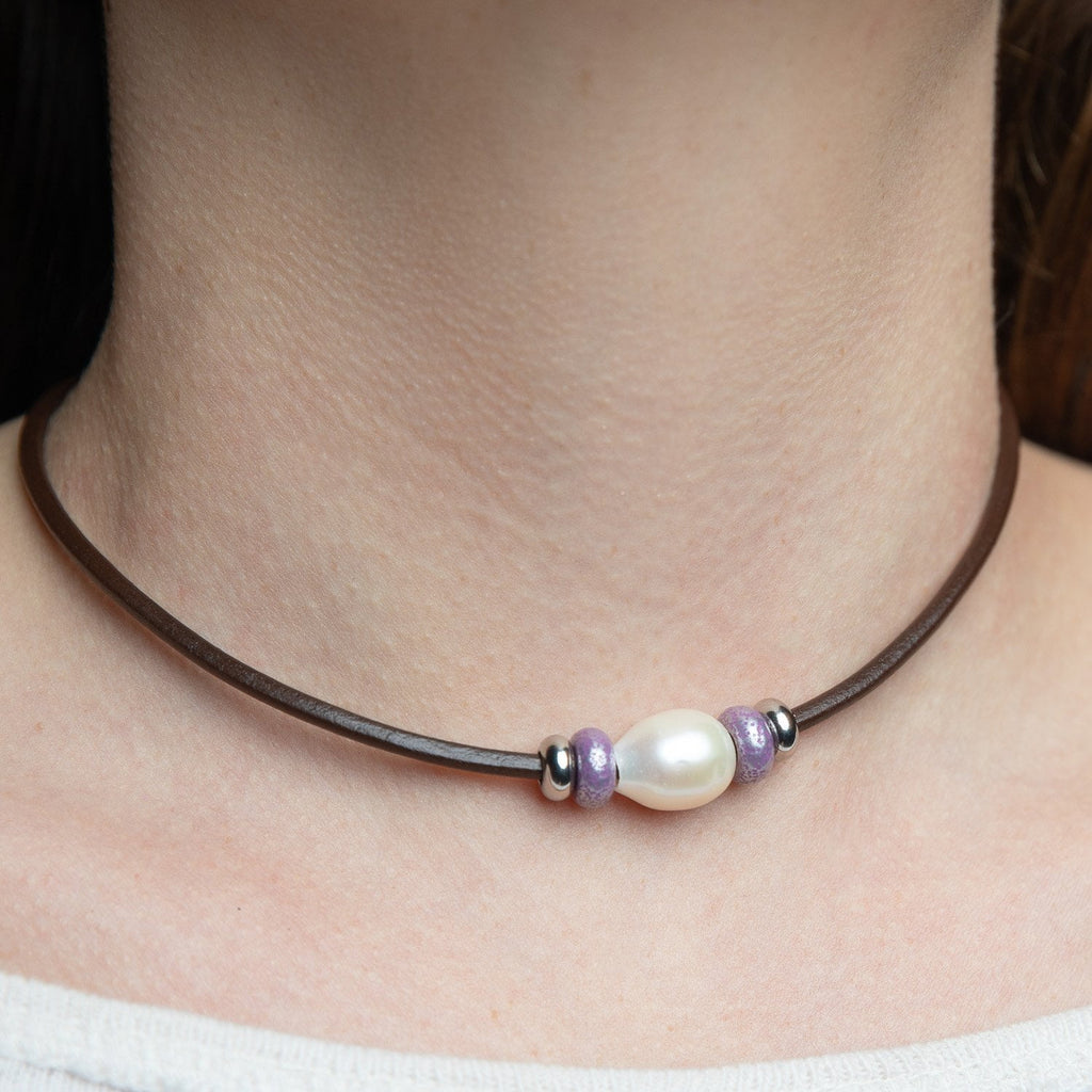 Leather Pearl and Bead Choker