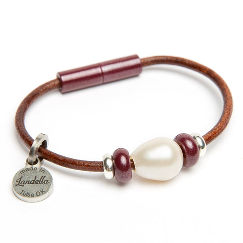 Leather 3 Bead Pearl Bracelet | Last Chance Sale