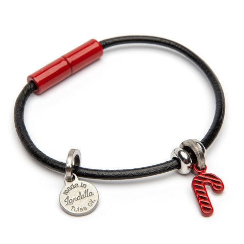Leather Candy Cane Charm Bracelet