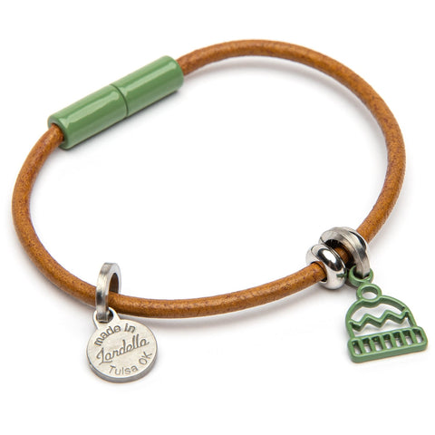Leather Beanie Charm Bracelet