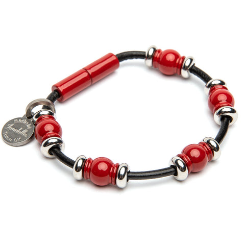 Leather 5 Bead Bracelet