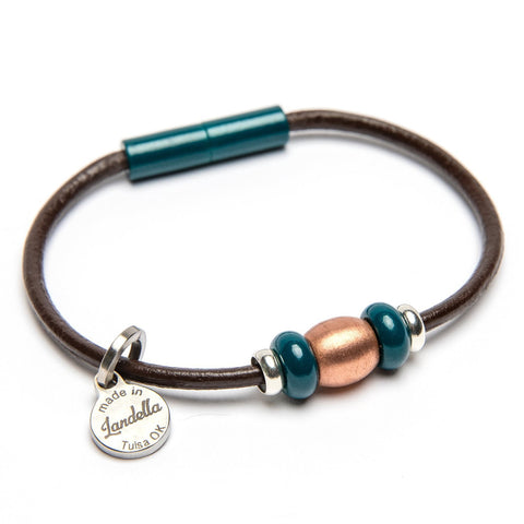 Leather 3 Bead Copper Bracelet