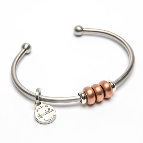 Raw Copper 3 Bead Stainless Steel Cuff Bracelet
