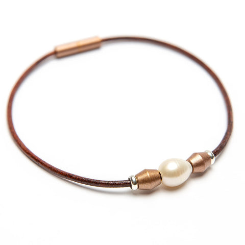 Leather Bead & Freshwater Pearl Choker | Color of the Month