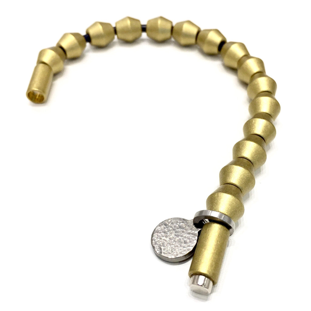 Solid Knife Edge Bead Bracelet in Satin Brass-Bracelets-handmade by Landella jewelry of Tulsa