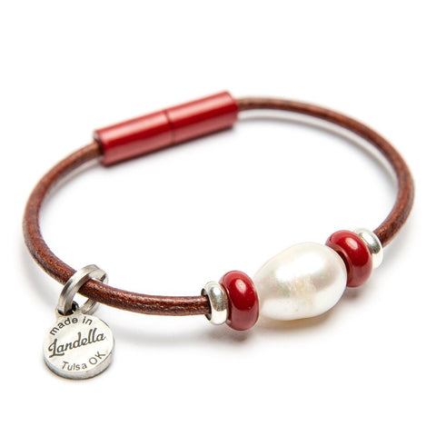 Leather 3 Bead Pearl Bracelet Fundraiser