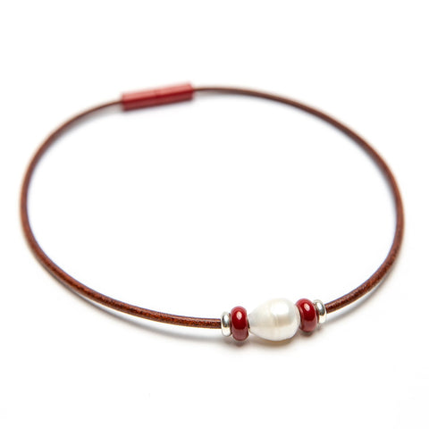 Leather Bead & Freshwater Pearl Choker Fundraiser