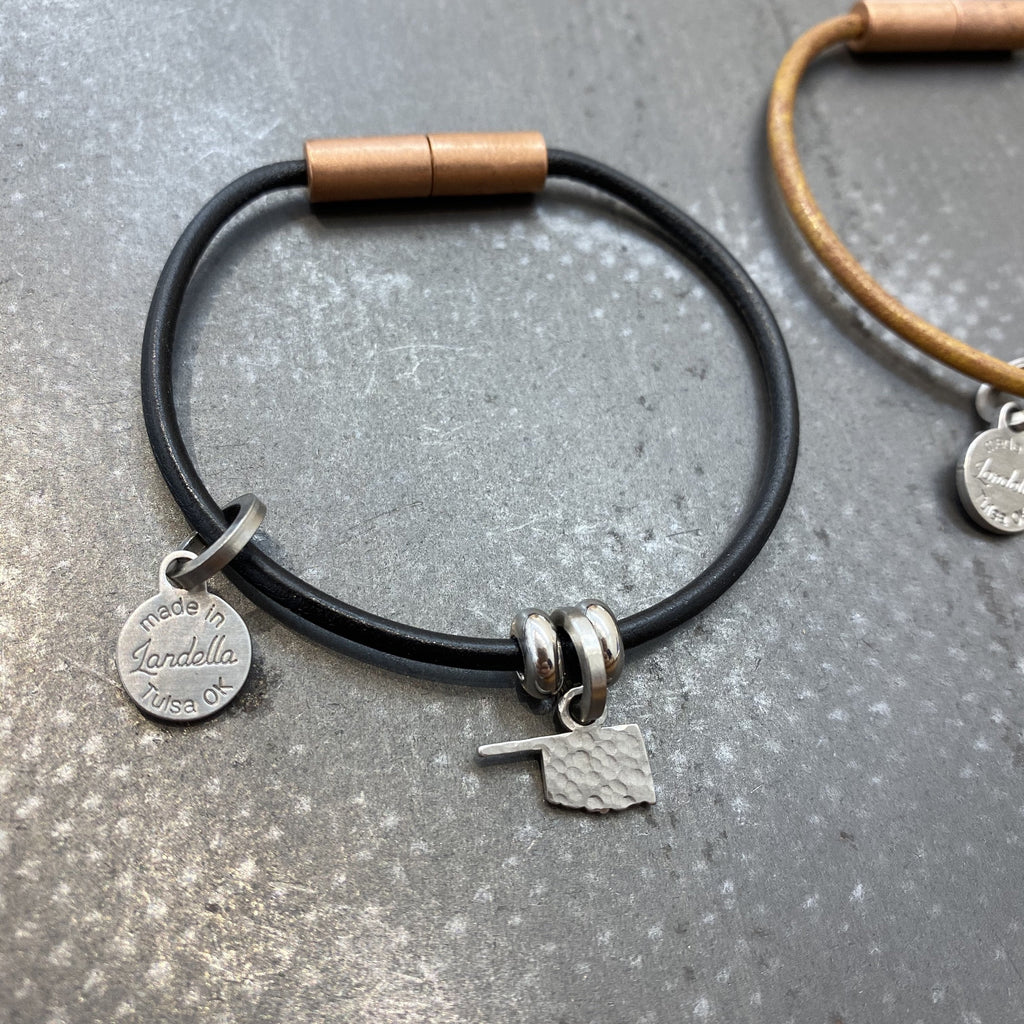 Leather Okie Charm Bracelet