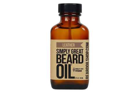 Simply Great Beard Oil | Leather | 3 oz.-Beard Oil-Sam's Natural-available at Landella Skincare of Downtown Tulsa