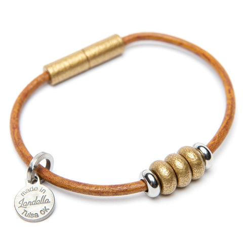 Leather 3 Bead Bracelet