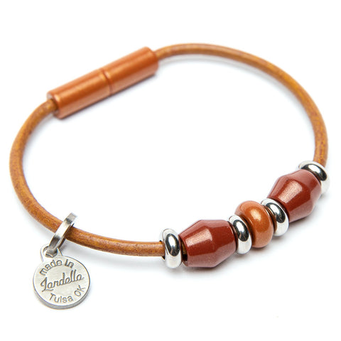 Deluxe Leather 3 Bead Bracelet
