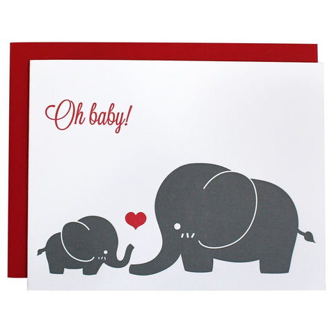OH BABY! ELEPHANT GREETING CARD