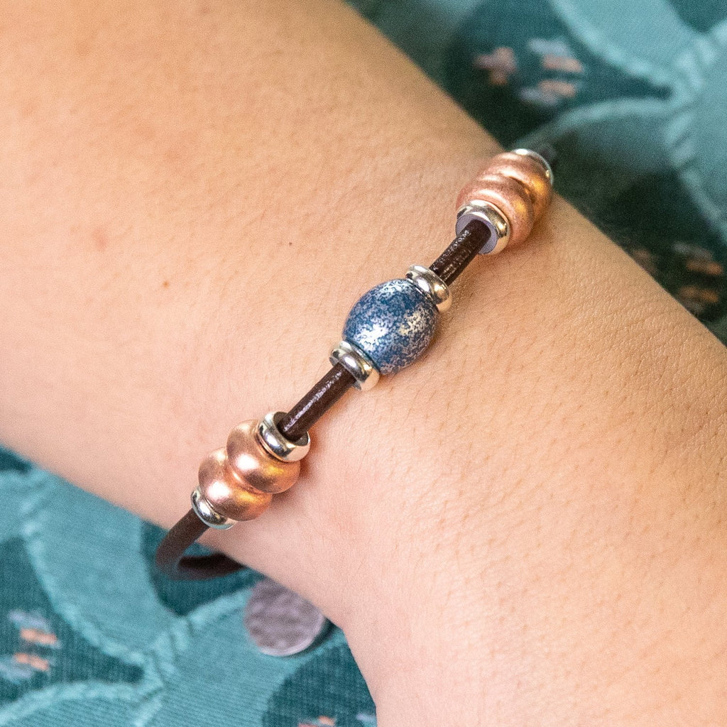 Deluxe 3 Bead Copper Bracelet