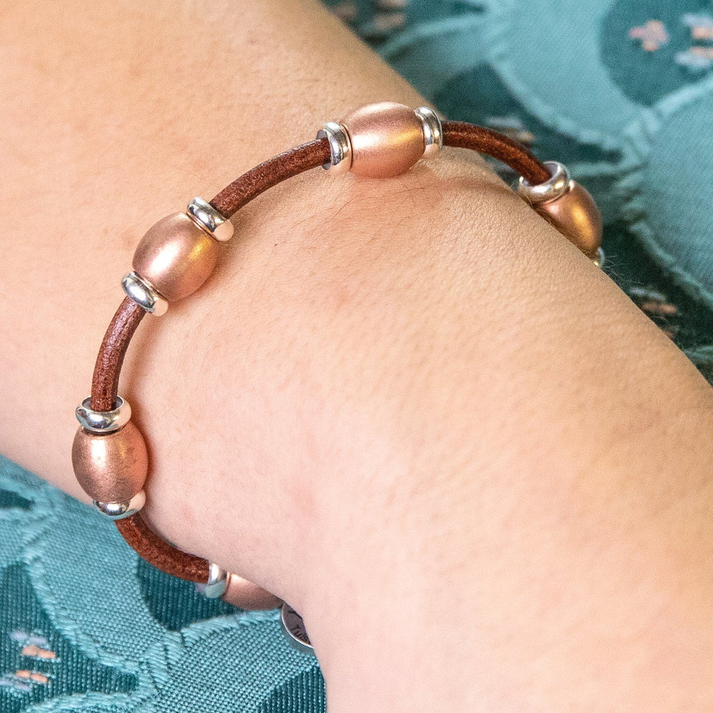 Deluxe 5 Bead Copper Bracelet